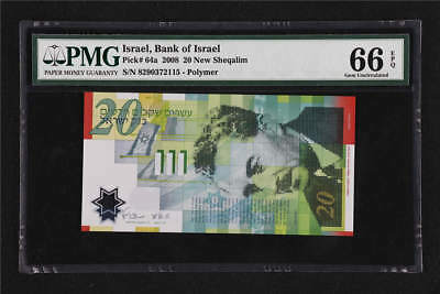 2008 Israel Bank of Israel  20 New Sheqalim Pick#64a  PMG 66  EPQ Gem UNC
