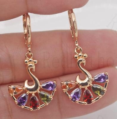18K Gold Filled -  Peacock TearDrop Hollow Topaz Amethyst Morganite Earrings