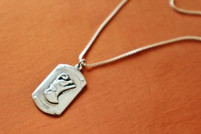 Antique Egyptian Silver Pendant Necklace Chain of Ancient Royal King Ramses II
