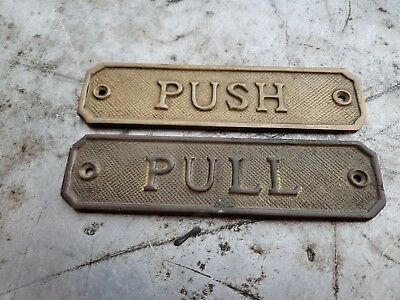 Vintage Brass Door Signs Push Pull