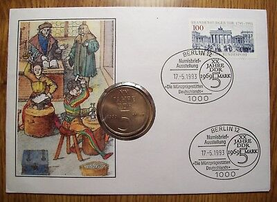 Germany Ddr I969 Unc. 5 Mark Coin In A 1993 First Day Stamp Cover