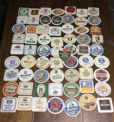 LOT of 60+ Vintage Beer Mats Coasters GERMAN USA + Others - Round Square
