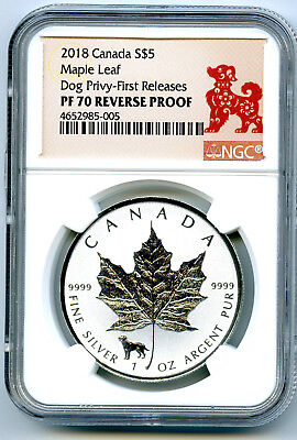 2018 $5 Canada 1 Oz Silver Maple Leaf Dog Privy Ngc Pf70 Fr Reverse Proof !!