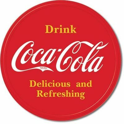 Coke Coca Cola Button Logo Blechschild USA Vintage Soft Drink Reklame 30 x 30 cm