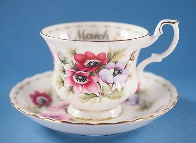 Vtg Royal Albert March Flower of the Month Series Anemones Cup & Saucer