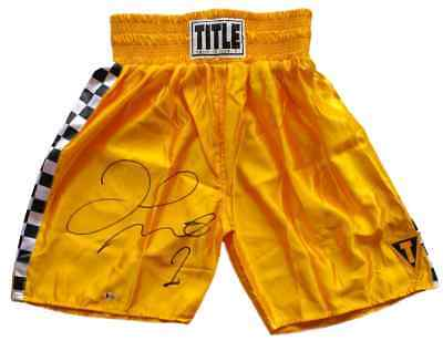 Floyd Mayweather Jr Signed Yellow TITLE Boxing Trunks Beckett BAS
