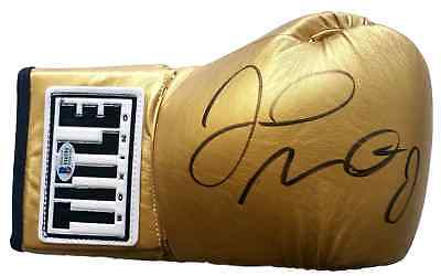 Floyd Mayweather Jr Signed Gold TITLE Right Hand Boxing Glove Beckett BAS