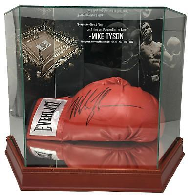 Mike Tyson Signed Everlast Boxing Glove In Photo Background glove Case JSA