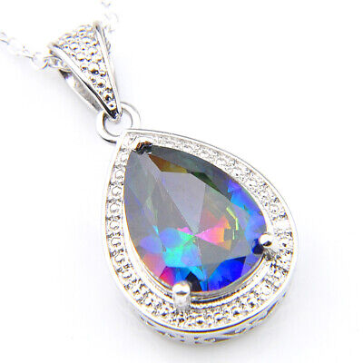 Newest Holiday Gift Rainbow Mystic Topaz Gemstone Silver Drop Necklace Pendants