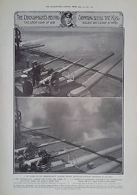 """1907 Print The Great Guns Of The """"Dreadnought"""" At Work- The Champion Buck Jumper"""