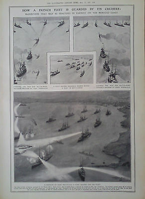 1907 Print How A French Fleet Is Guarded By Its Cruisers - Views From Cordova