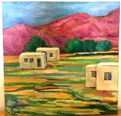 ARMENIA VILLAGE Red Mountains- Orig. Oil Art Painting RUSSIAN ARMENIAN Artist AH