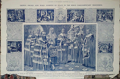 1907 Print Symbols Of State In King's Parliamentary Procession A/F- Suffragettes