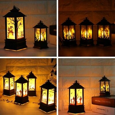 US Halloween Vintage Pumpkin Castle Light Lamp Hanging LED Lantern Party Decor