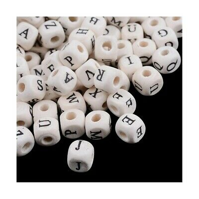 Wood Cube Beads 8 x 8mm Cream/Black 60+ Pcs Alphabet Art Hobby Jewellery Making