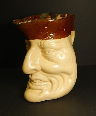 Antique character jug pottery pitcher rustic folk art face carved wood Halloween