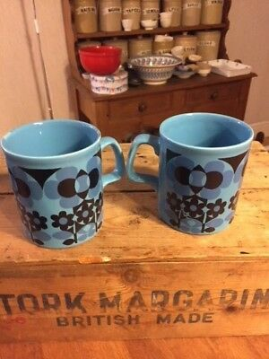 Vintage Pair Staffordshire Potteries 1960's / 1970's Drinking Mugs – Blue Flower
