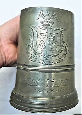 NO RESER St Johns College Cambridge Pewter Tankard Rowing Trophy Vintage Antique
