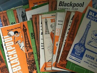 Blackpool HOME programmes 1950's and 1960's 1957/58 to 1969/70