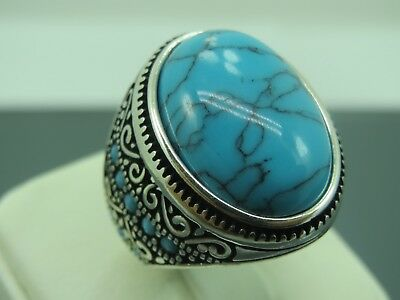 Turkish Handmade Jewelry 925 Sterling Silver Turquoise Stone Men's Ring Sz 8