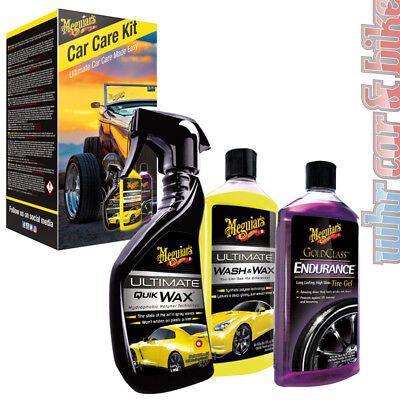 Meguiars Car Care Kit Ultimate Quik Wax Wash&Wax & Endurance High Gloss Tire Gel