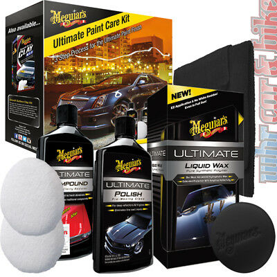 Meguiar's Ultimate Paint Care Kit Compound Polish Liquid Wax Applicator Pads