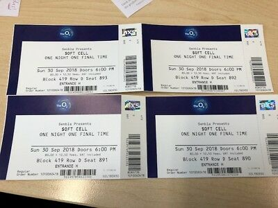 4 Soft Cell Tickets for FINAL concert. Sold out at O2 on 30th September 2018