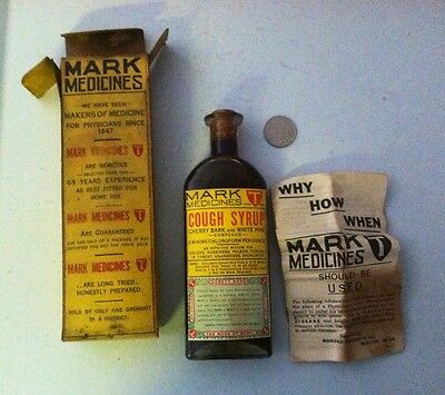 Antique Labeled Medicine Cherry Bark Cough Syrup In Org Box With Paper
