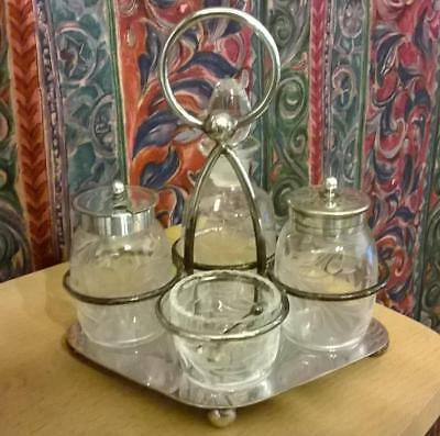 Antique Silver Plated & Etched Glass Cruet Condiment Stand with Sterling Spoon