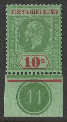 GILBERT & ELLICE ISLANDS 1922 KGV 10/- wmk script, control no 11. MNH **.