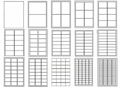 20 Sheets - ALL SIZES Inkjet Laser Printer White Address Labels Self Adhesive A4