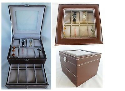 Brown Watch or Bracelet Jewelry Box 2-Tier Faux Leather 8x8x 6.5 (16 slot)