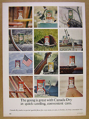 1963 Canada Dry Soda Root Beer Cola Ginger Ale cans photo vintage print Ad