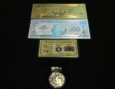 5 Pc.LOT~2 US $500 BANKNOTE REPS.* 1 GOLD & 1 SILVER&TINY SILVER BAR+COIN/FLAKES