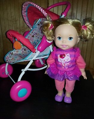Fisher Price Little Mommy Interative Talking Singing Baby Doll & Stroller
