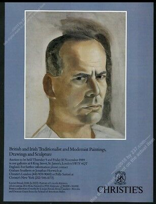 1989 Lucian Freud portrait of Lincoln Kirstein Christie's vintage print ad