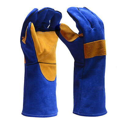 1 Pairs Soldering Oven Grill Mig Welding Gloves Gauntlets Welders Leather Gloves