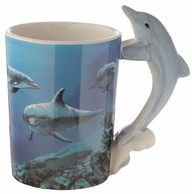 Novelty 3D Leaping Dolphin Design Handle Coffee Mug Tea Cup New In Gift Box