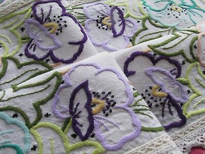 Vintage Hand Embroidered Tray cloth Panel-PRETTY RAISED FLORAL'S