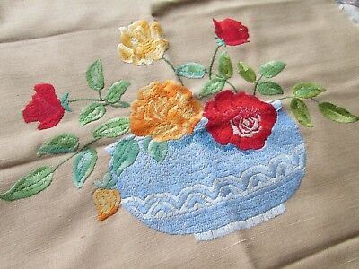 Vintage Hand Embroidered Panel/Cushion Cover?-BEAUTIFUL FLORAL VASE