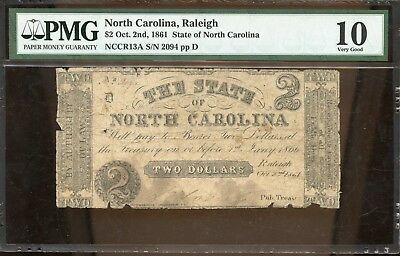 1861 PMG 10 Very Good North Carolina, Raleigh $2 Oct. 2nd Currency Note GA966