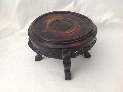antique carved Chinese pot display stand wood wooden for vase. Or carving large