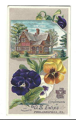 Old Trade Card New Home Sewing Machine DS Ewing Philadelphia PA
