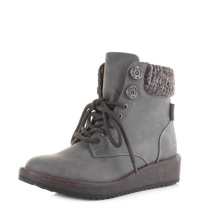 Womens Blowfish Chomper Charcoal Knit Low Wedge Lace Up Boots Size