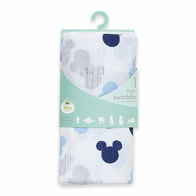 Mickey Mouse Muslin Swaddle Blanket NWT Motif Baby Boy Aden & Anais Disney
