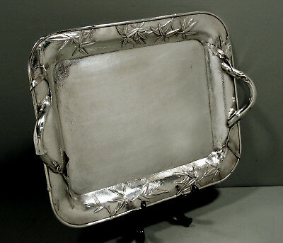 "Japanese Sterling Tea Tray       SIGNED   "" MEIJI PERIOD  -  HAND HAMMERED """