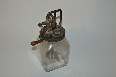 Vintage Hand Crank Glass Jar 4 Quart Butter Churn Wood Handle Cast Iron Gears