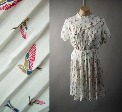 Bird Print High Neck Ruffle Vtg Style 40s 50s White Pleated Tea 285 mv Dress S L