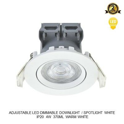 Adjustable Led Recessed Downlight Spotlight Dimmable Ip20 White Gloss 4W