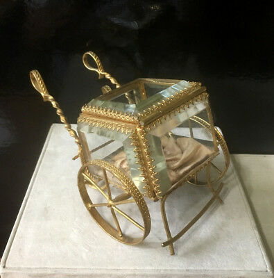 Antique French Thick Beveled Glass Display Box on Metal Cart